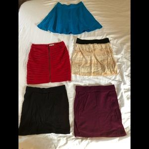 Five colorful skirts